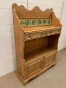 A Pine, tiled back display cabinet with two drawers and cupboards under (W 100 cm x H 140 cm x D