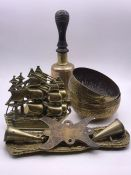A Selection of Brass Ware to include a school bell.