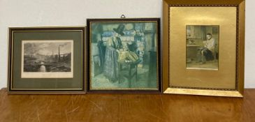 A group of three prints of various themes and dates, framed and glazed, (19.5x19.5 cm largest). (3)