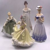 A selection of four china figures, two by Royal Doulton and two others.