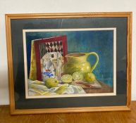A 20th century English school, Still life with lemonds and diary, unsigned, pastel, framed and