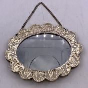 A silver frame and back mirror, marked 900 and makers mark SK