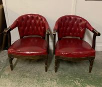 A Pair of Red Leather Club Chairs
