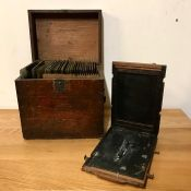A Selection of Victorian Photographic plates along with the original glass plate holder
