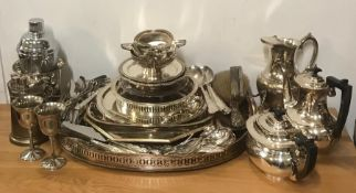 A large selection of silver plate