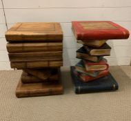Two decorative side tables in the style of books (H50cm Sq35cm)