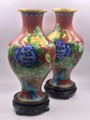 A Pair of Contemporary Cloisonné vases on stands.
