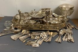 A selection of white metal items to include a tray etc