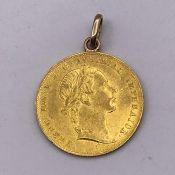 An Austrian 1 Ducat gold coin Franz Joseph 1 1853 with chain loop. (3.6g)