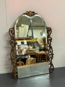 A wall mirror with scrolled edge detail (75cm 51cm)