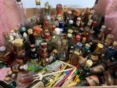 A selection of miniature spirits, whisky and wine