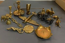 A small collection of brass items
