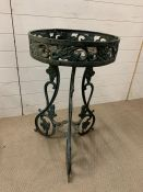 A Painted wrought iron plant stand (D 47 cm x 80 cm H)