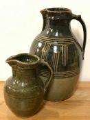 Two studio pottery jugs