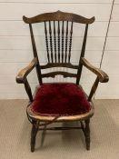 An oak bobbin chair