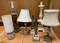 A selection of table lamps