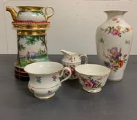 A selection of porcelain including a Meissen cup along with Crown Derby china