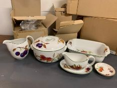 """A selection of boxed sets of Royal Worcester """"Eversham Vale"""" dinner service."""