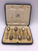 A Boxed Mappin & Webb hallmarked silver teaspoons