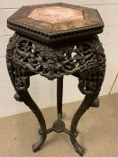 A Chinese marble topped pot stand AF