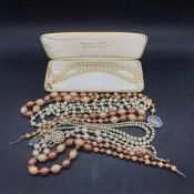 A Selection of pearl necklaces.