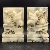 Marble bookends with sculptured birds and pond lilies