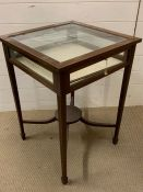 A Bijouterie table with string inlay and stretchers. (59 cm sq x 76 cm high)