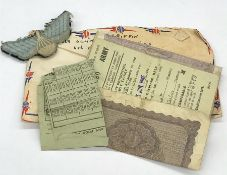 WWII Ephemera to include envelope dates 18th August 1945 including a parachute regiment patch,