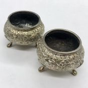 A Pair of Persian silver salts