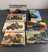 A selection of seven boxed army tanks/ vehicles model kits to include, Track Width Mine Plough,