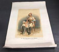A hand coloured lithograph of an Indian Maharaja, titled Maha-Rajah-Hindoo-Rao-Babadoor from