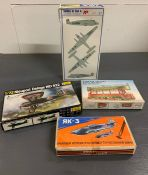 A selection of four boxed various model kits to include, Tower Trams, Nieuport Delage Nid 622,