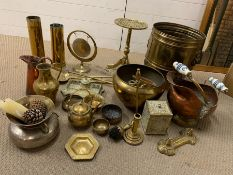 A large selection of brass items