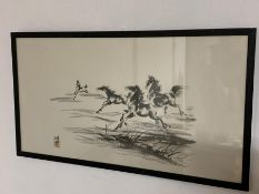 'Galloping horses' in the Xu Beihong style, framed and glazed, (40x75 cm).