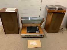 A Goodmans turntable and Goldring turntable along with two large IMHOFS speakers