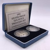 A Boxed two 10p coin Silver Proof pack, Old 10p and New 10p.
