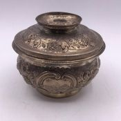 A Hallmarked silver lidded bowl (Total Weight 292g) with floral and foliate design, indistinct