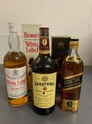 Three Bottles of Whiskey to include: Seagrams Seven Crown, Johnnie Walker Black Label and Dewars