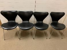 A Set of Four Iconic Fritz Hansen 1967 Danish Black Butterfly Chairs