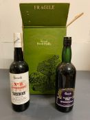 A Boxed case Harrods Rare Old Port and a Bottle No 11 Amontillado Sherry