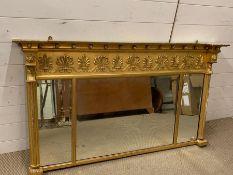 A Gilt Triptych over mantle bevel edged mirror (138 cm w x 78 cm high)