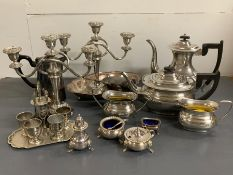 A selection of silver plate to include a tea service etc
