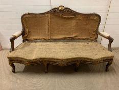 A 19th Century Louis XV style parcel gilt settee. (H100cm W170cm D62cm)
