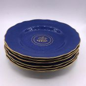 A Selection of six T Goode & Co china plates in blue, one AF.