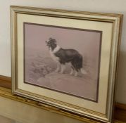 A print depicting a Border Collie and a flock of sheeps, illegibly signed and numbered 389/850,