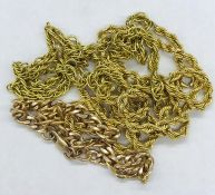 A selection of three broken 9 ct gold chains. (Approximate weight 14.5g)
