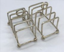 A Pair of Hallmarked silver toast racks by George Unite with a Birmingham Hallmark