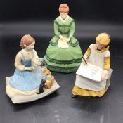 Three figures from Little Women designed by Tasha Tudor to include, Meg, Amy and Beth