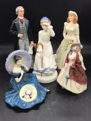 A selection of five Royal Doulton figures to include, Pensive Moments, Paisley Shawl, Sir John