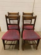 Four oak dining chairs on turned legs and back